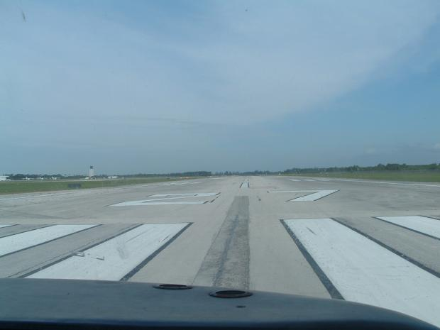Lined up on Runway 27.