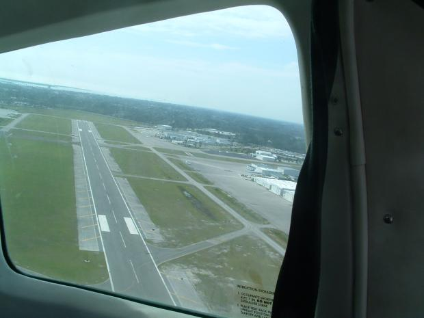 Takeoff from 27 crossing Runway 14-32.